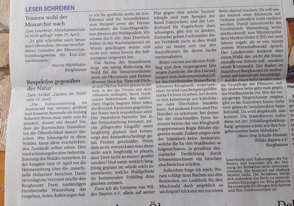 Keine Waldzerstörung im Staatswald dulden: Leserbrief Passauer Neue Presse - Ausgabe Burghausen vom 01. Mai 2021
