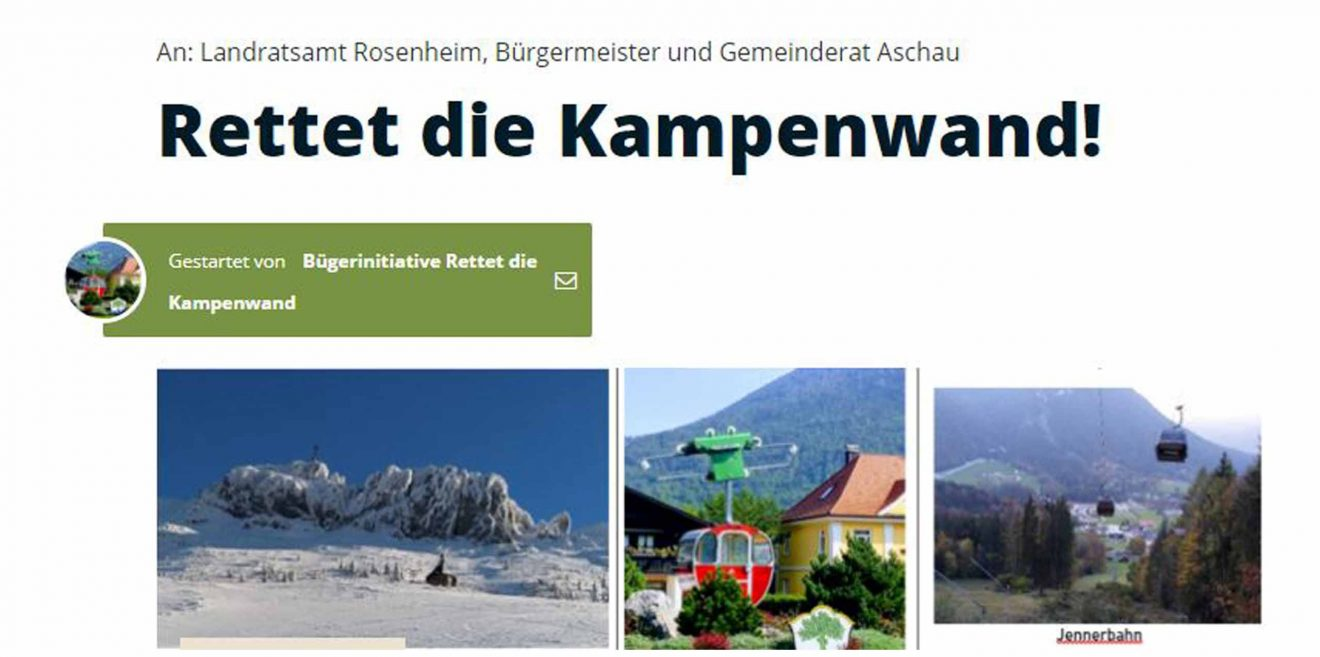 "(c)Screenshot -Petition auf Weact.Campagne.de ""Rettet die Kampenwand"""